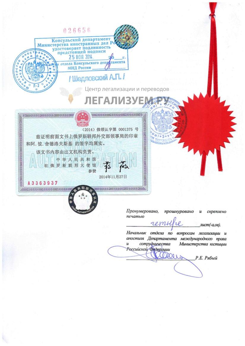 Полная консульская легализация документов для Китая Легализуем Ру Полная консульская легализация для Китая